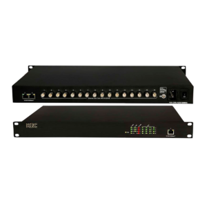 The EECF16-GN3-R is an Ethernet over Coax (EoC) switch with 16 coax ports with Power Over Coax (PoC) and 3*10/100/1000M Ethernet ports. This switch provides connectivity up to 16 units PoC/PoE version EECF1-LS1-T-MN-B transmitter.