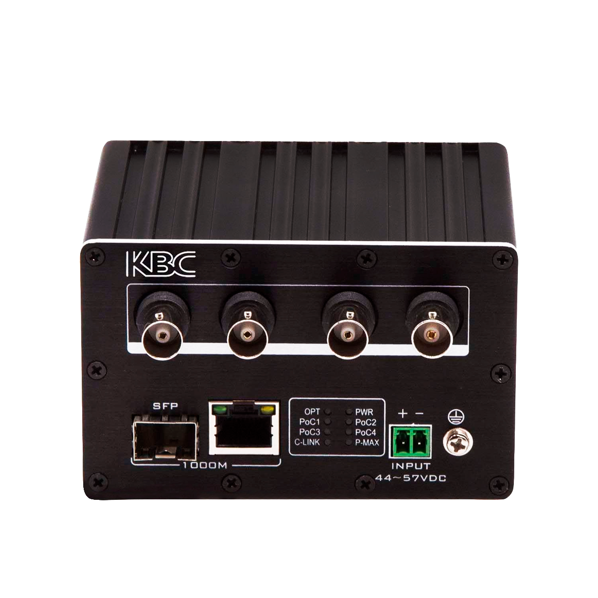 he KBC EECF4-DN1-R is an Ethernet over Coax (EoC) receiver with 4 coax ports with Power Over Coax (PoC) and 1*10/100/1000M Ethernet ports,1*1000Base-FX SFP port